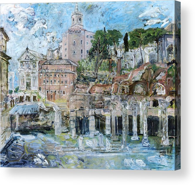 Rome Acrylic Print featuring the painting ForumRomanum by Joan De Bot