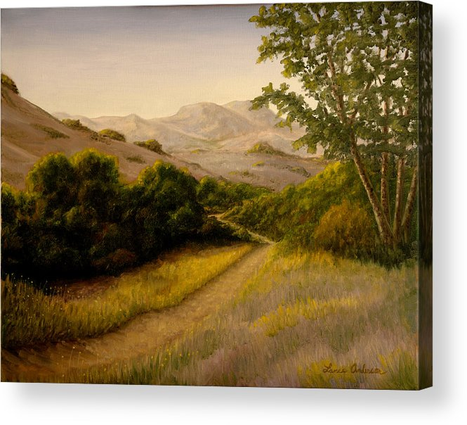 Path Acrylic Print featuring the painting Four Sycamores by Lance Anderson