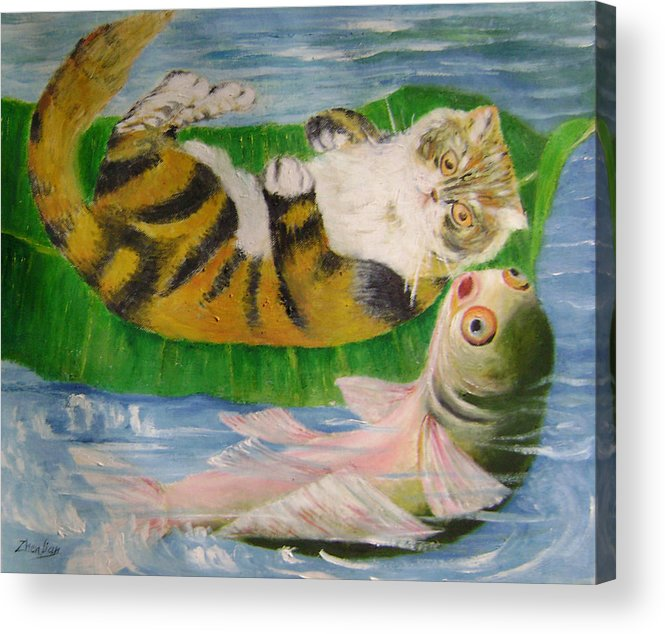 Surrealist Acrylic Print featuring the painting Friends on holiday by Lian Zhen