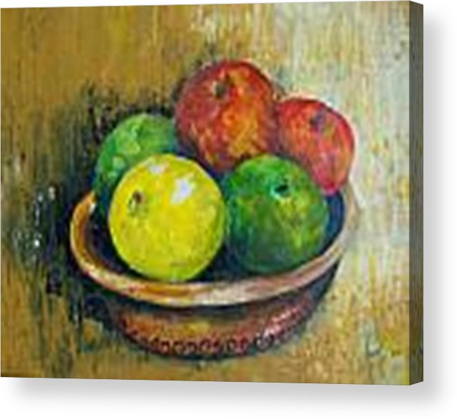 Apples And Oranges Acrylic Print featuring the painting Frutas by Carol P Kingsley