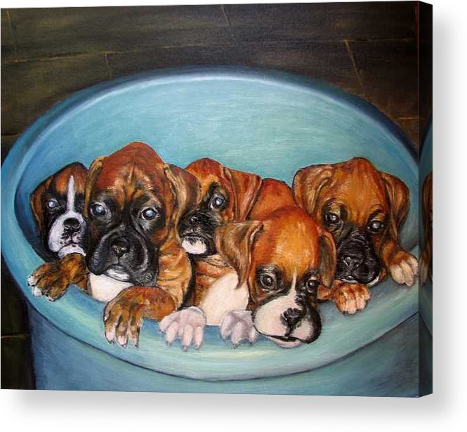 Oil Acrylic Print featuring the painting Funny Puppies orginal oil painting by Natalja Picugina