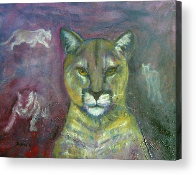 Wildlife Acrylic Print featuring the painting Ghost Cat by Darla Joy Johnson
