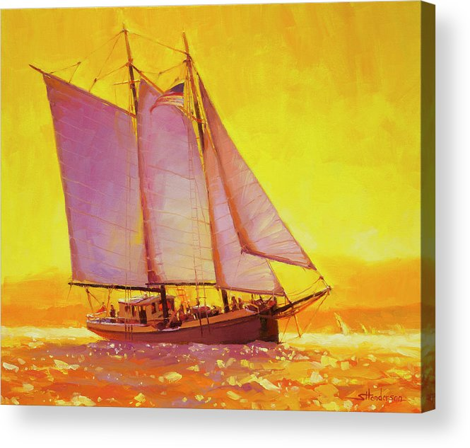 Sail Acrylic Print featuring the painting Golden Sea by Steve Henderson
