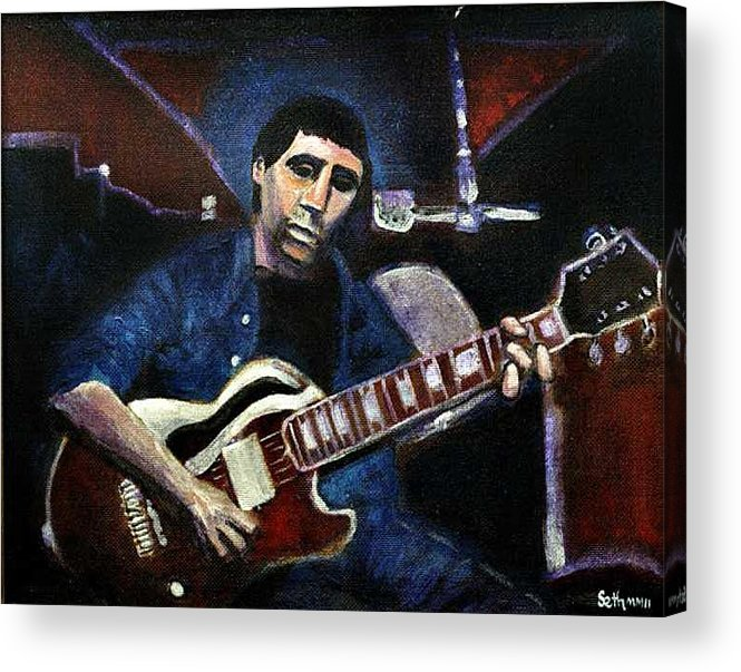 Shining Guitar Acrylic Print featuring the painting Graceland Tribute to Paul Simon by Seth Weaver