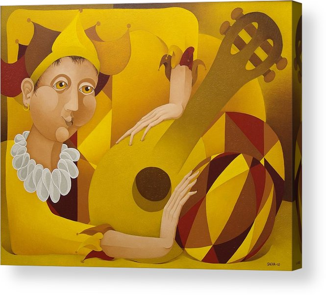 Sacha Acrylic Print featuring the painting Harlequin with Lute 2003 by S A C H A - Circulism Technique