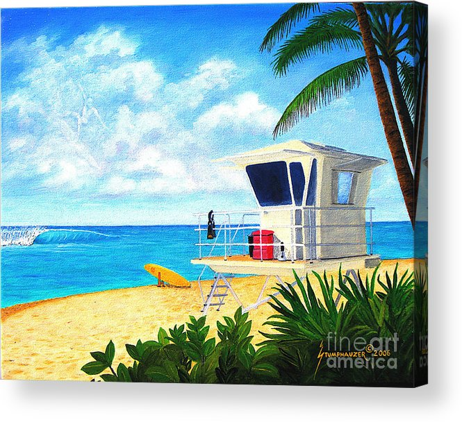 Hawaii Acrylic Print featuring the painting Hawaii North Shore Banzai Pipeline by Jerome Stumphauzer