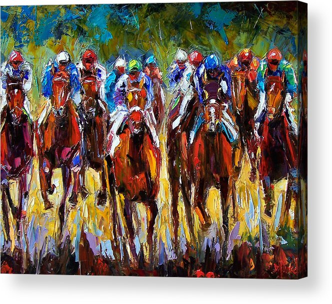 Equestrian Acrylic Print featuring the painting Heated Race by Debra Hurd