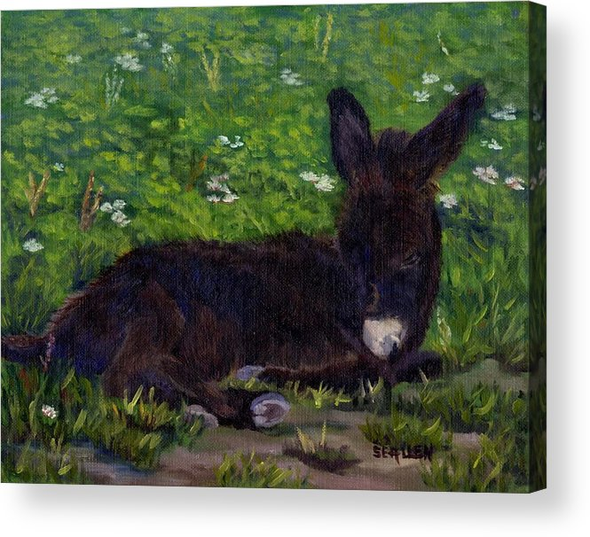 Donkey Acrylic Print featuring the painting Hercules by Sharon E Allen