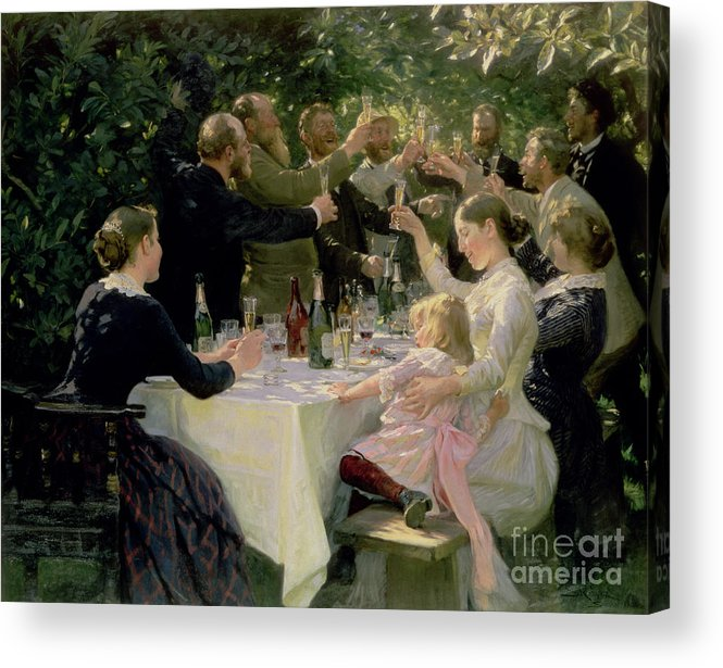 Party Acrylic Print featuring the painting Hip Hip Hurrah by Peder Severin Kroyer
