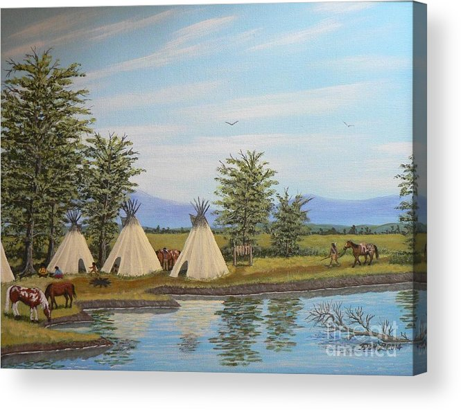 Indians Acrylic Print featuring the painting Indian river camp by Don Lindemann