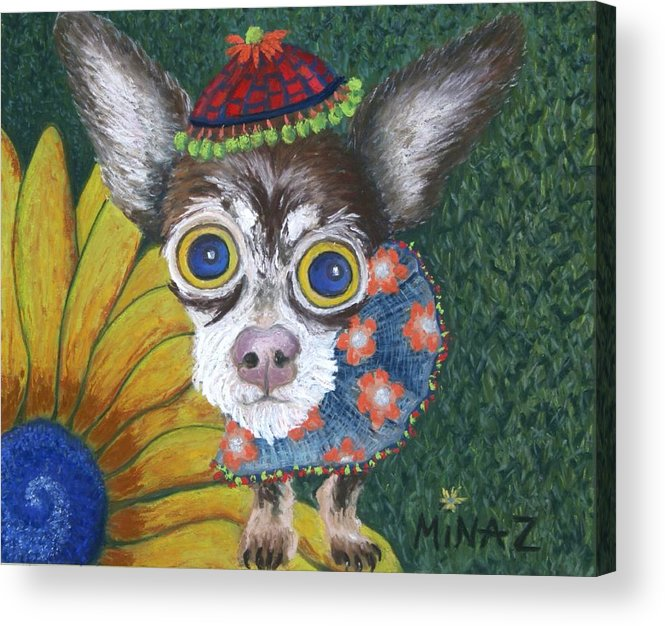 Chihuahua Acrylic Print featuring the painting Inside Van Gogh's Garden Sits Sunflower Sally by Minaz Jantz