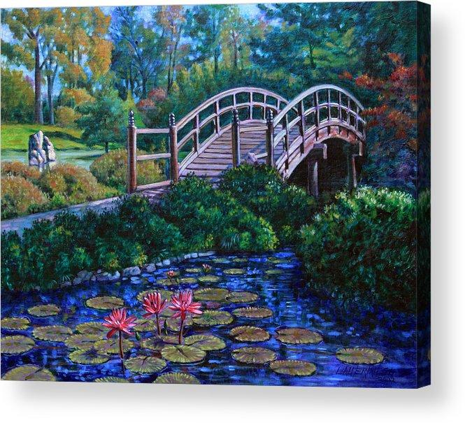 Japanese Bridge Acrylic Print featuring the painting Japanese Garden Bridge by John Lautermilch