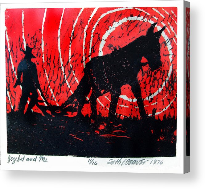 Jezebel And Me Acrylic Print featuring the relief Jezebel And Me by Seth Weaver