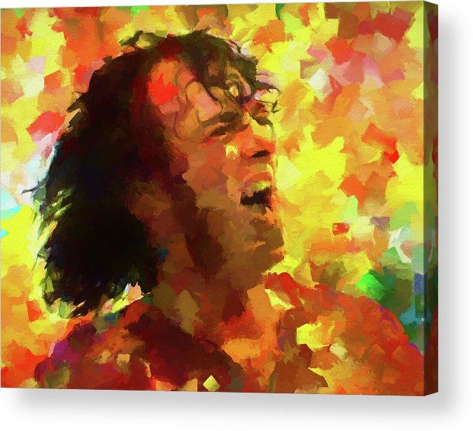 Joe Cocker Colorful Palette Knife Acrylic Print featuring the painting Joe Cocker Colorful Palette Knife by Dan Sproul