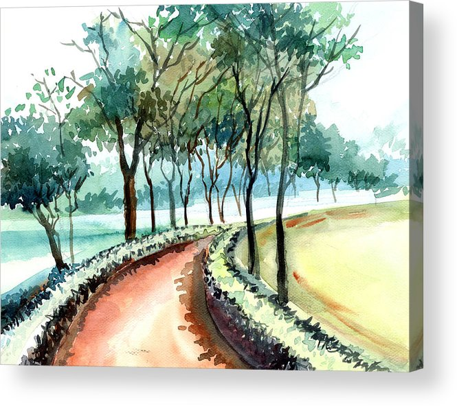 Landscape Acrylic Print featuring the painting Jogging track by Anil Nene