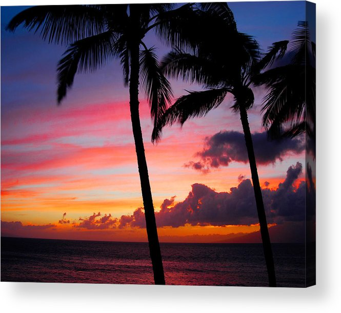 Kaanapali Sunset Acrylic Print featuring the photograph Kaanapali Sunset Kaanapali Maui Hawaii by Michael Bessler