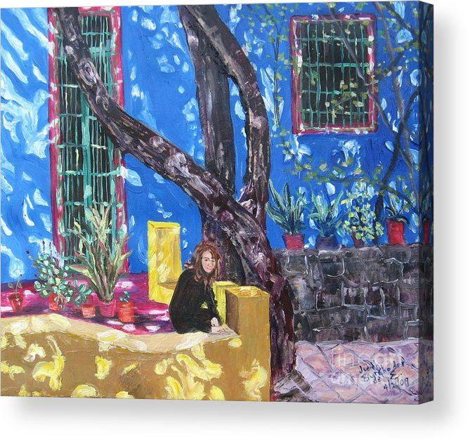 Blue Acrylic Print featuring the painting Kahlo Blue - Sold by Judith Espinoza
