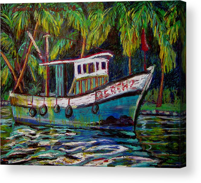 Kerala Acrylic Print featuring the painting Kerala Fishing Boat by Art Nomad Sandra Hansen