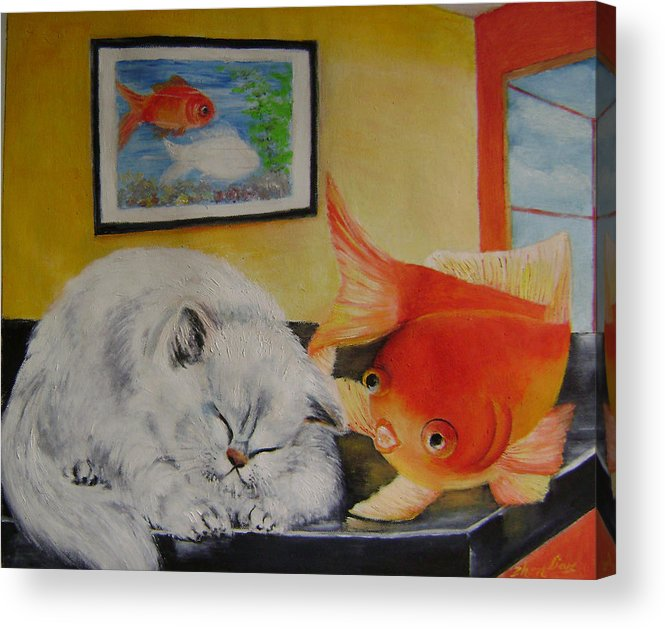 Fantasy Acrylic Print featuring the painting Kitty's dream by Lian Zhen