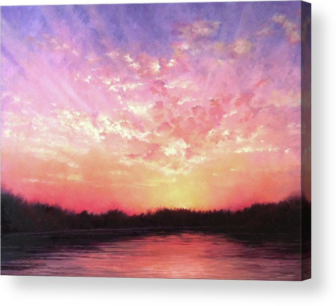 Landscape Acrylic Print featuring the painting Lake Sunset by Teri Rosario