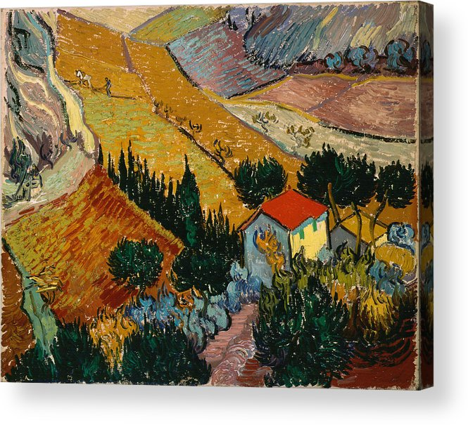 Van Gogh Acrylic Print featuring the painting Landscape With House And Ploughman by Van Gogh