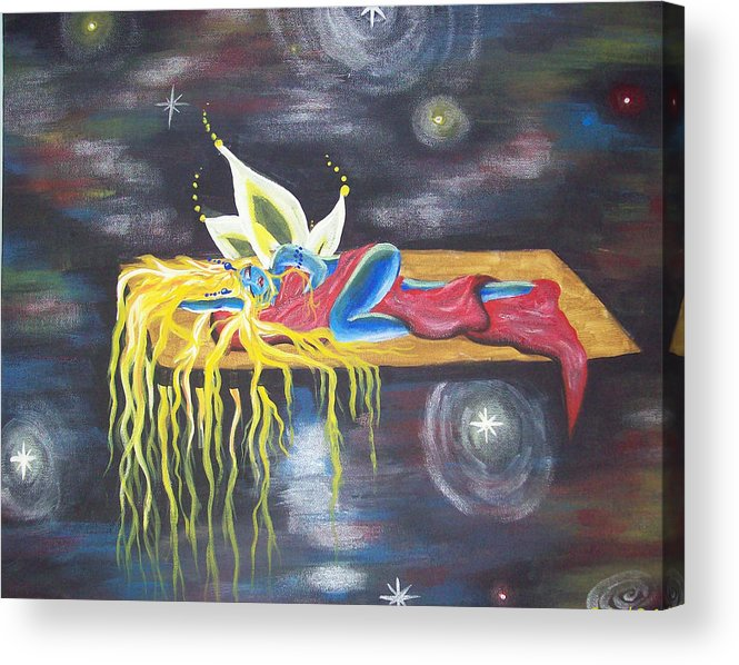 Fairy Acrylic Print featuring the painting Laying in space by Hollie Leffel