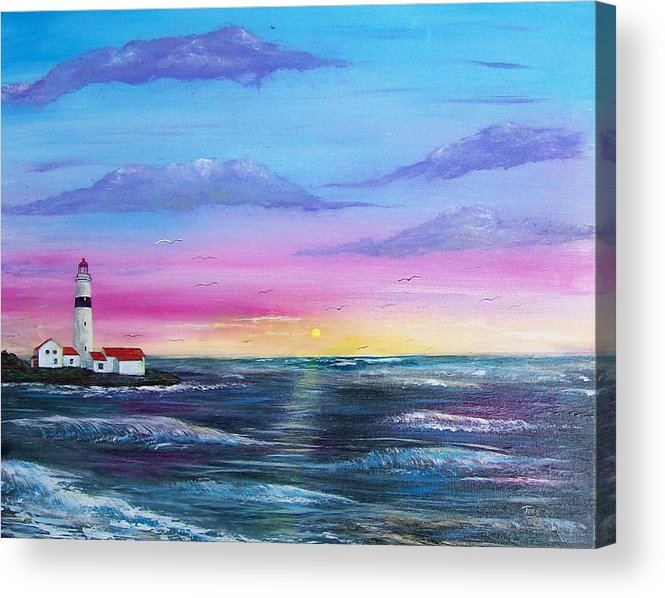Seascape Acrylic Print featuring the painting Lighthouse 5 by Tony Rodriguez