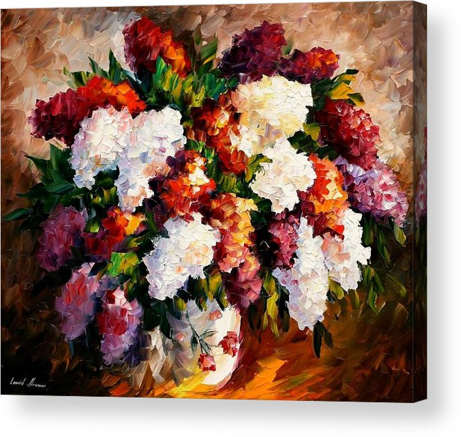Afremov Acrylic Print featuring the painting Lilac For My Beloved by Leonid Afremov
