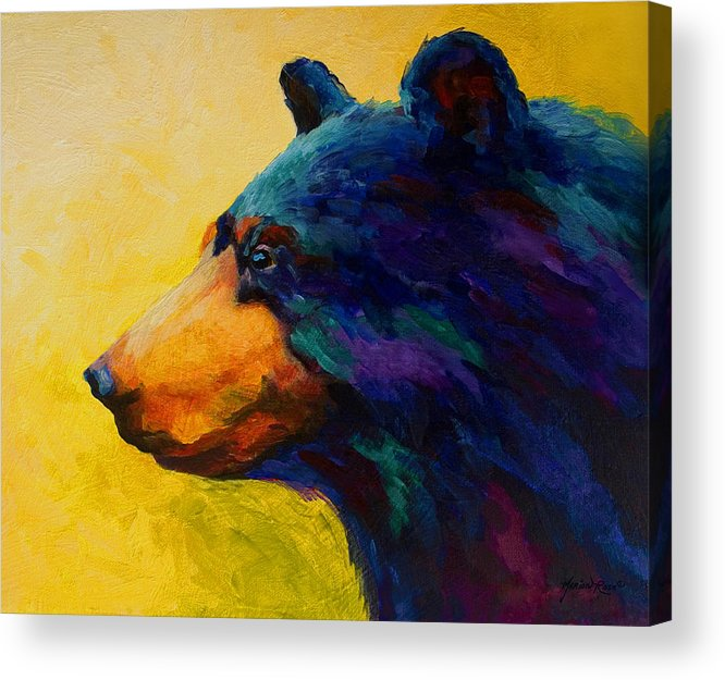 Bear Acrylic Print featuring the painting Looking On II - Black Bear by Marion Rose