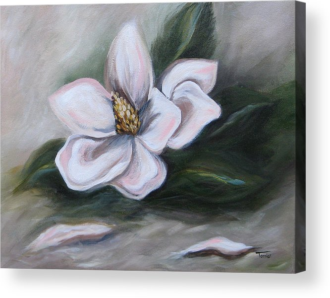Flower Acrylic Print featuring the painting Magnolia Two - 2007 by Torrie Smiley