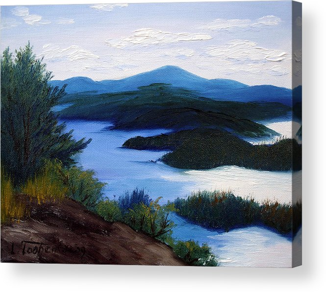 Maine Acrylic Print featuring the painting Maine Bay Islands by Laura Tasheiko