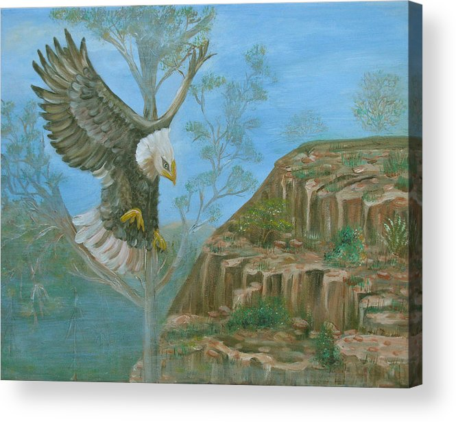 Eagle Acrylic Print featuring the painting Majestic Warrior by Mikki Alhart