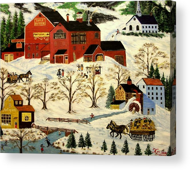 Folk Art Acrylic Print featuring the painting Maple Syrup Factory by Kenneth LePoidevin