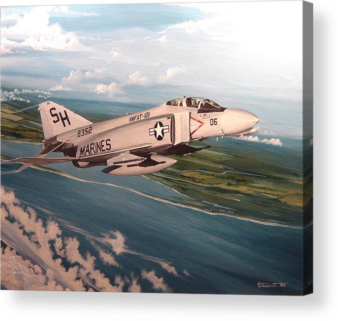 Aviation Acrylic Print featuring the painting Marine Phantom by Marc Stewart