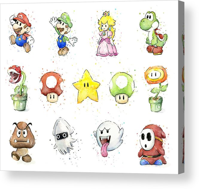 Mario Acrylic Print featuring the painting Mario Characters in Watercolor by Olga Shvartsur