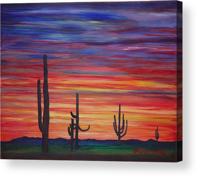 Landscape Acrylic Print featuring the painting Mesa Sunset by Gretchen Matta