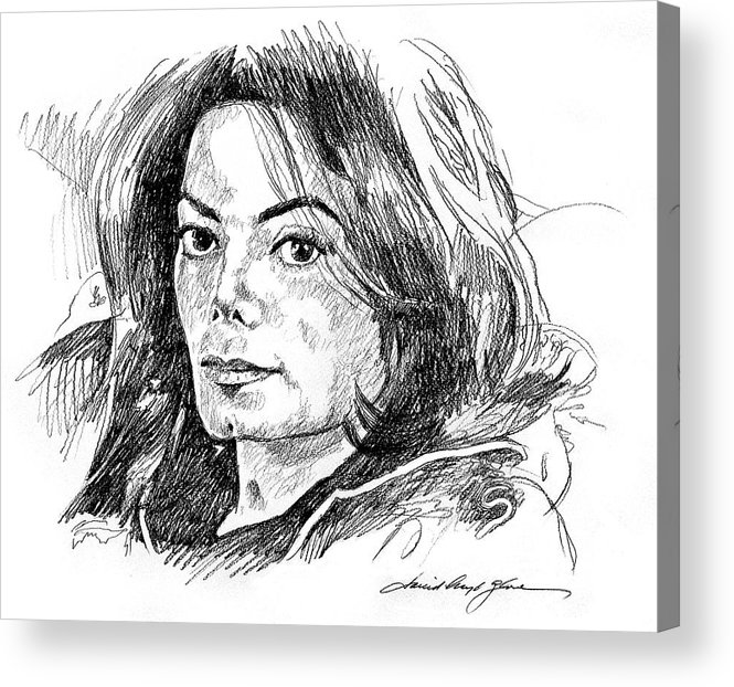 Michael Jackson Acrylic Print featuring the drawing Michael Jackson Thoughts by David Lloyd Glover