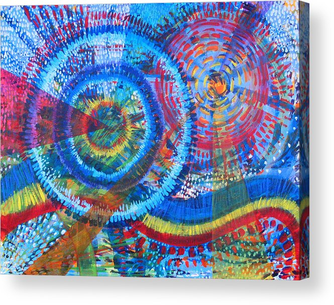 Dots Acrylic Print featuring the painting Microcosm V by Rollin Kocsis