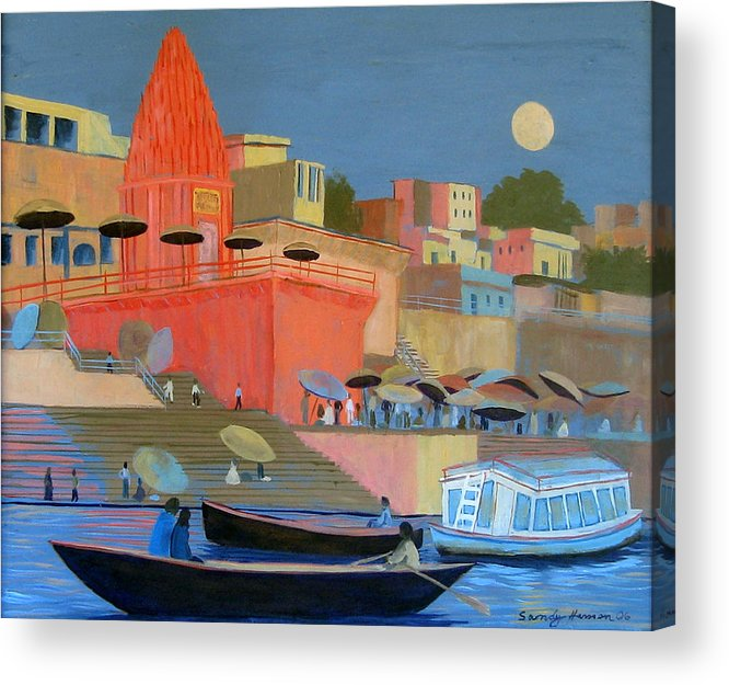 Moonlight Acrylic Print featuring the painting Moonlight on the Ghats by Art Nomad Sandra Hansen