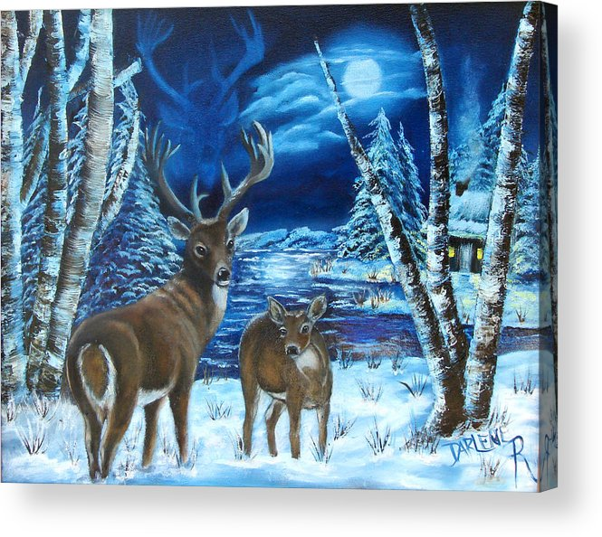 Deer Acrylic Print featuring the painting Moonlight Walk by Darlene Green