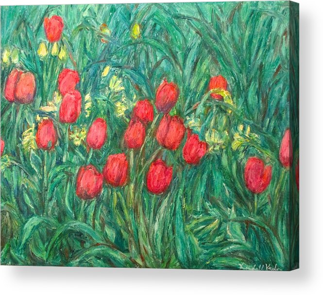 Kendall Kessler Acrylic Print featuring the painting Mostly Tulips by Kendall Kessler
