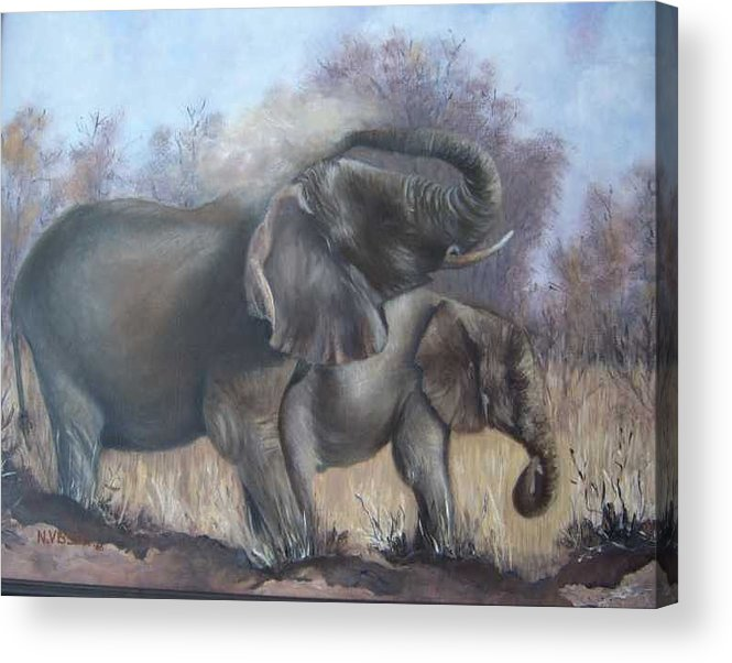 Elephants Acrylic Print featuring the painting Mother and child by Nellie Visser