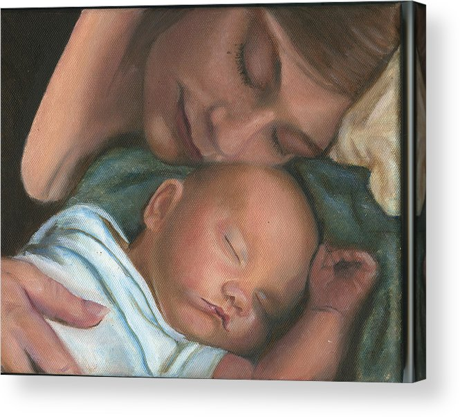 Mother Acrylic Print featuring the painting Mother and Son by Sandra Butler