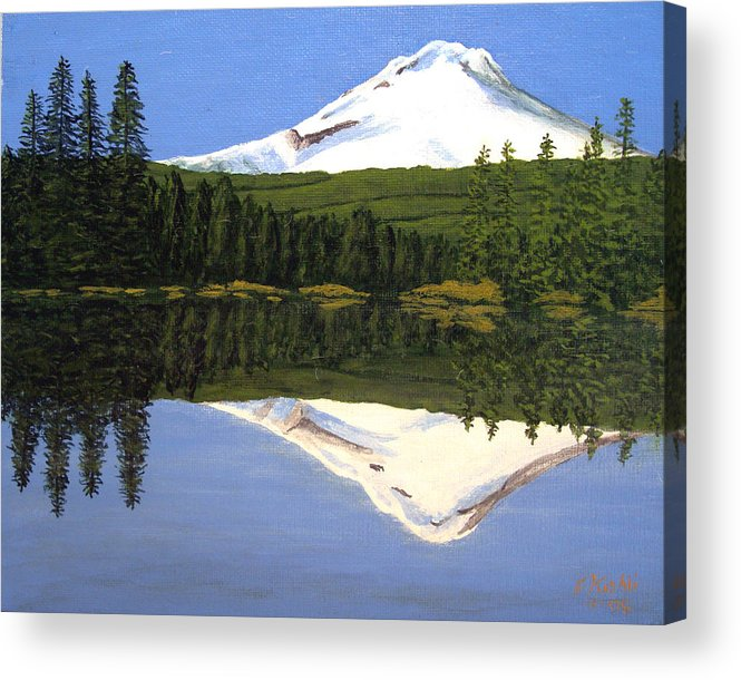 Landscape Paintings Acrylic Print featuring the painting Mount Hood-Trillium Lake by Frederic Kohli