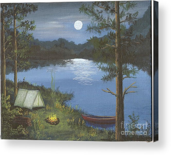 Lake Acrylic Print featuring the painting Mountain fish camp by Don Lindemann