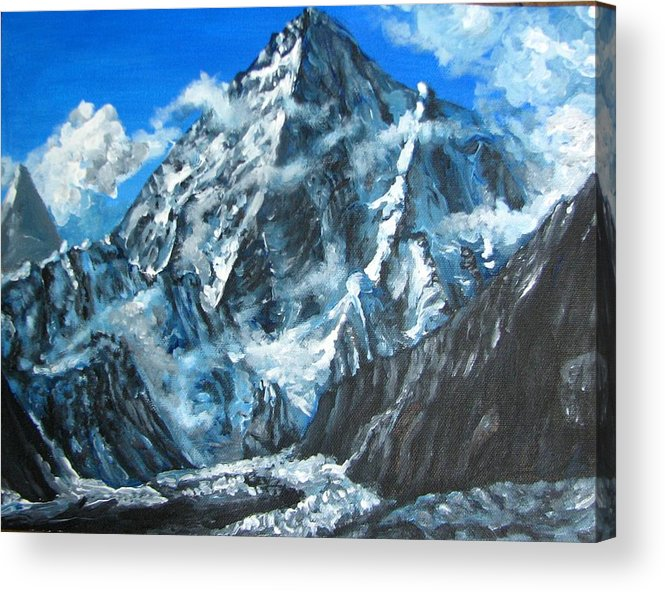 Mountains Acrylic Print featuring the painting Mountains view landscape acrylic painting by Natalja Picugina