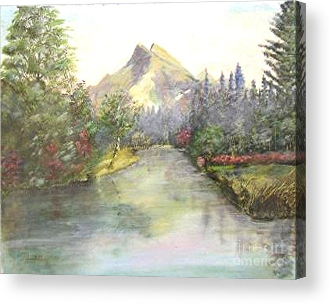 Landscape Painting Acrylic Print featuring the painting Mt Bundle by Nicholas Minniti