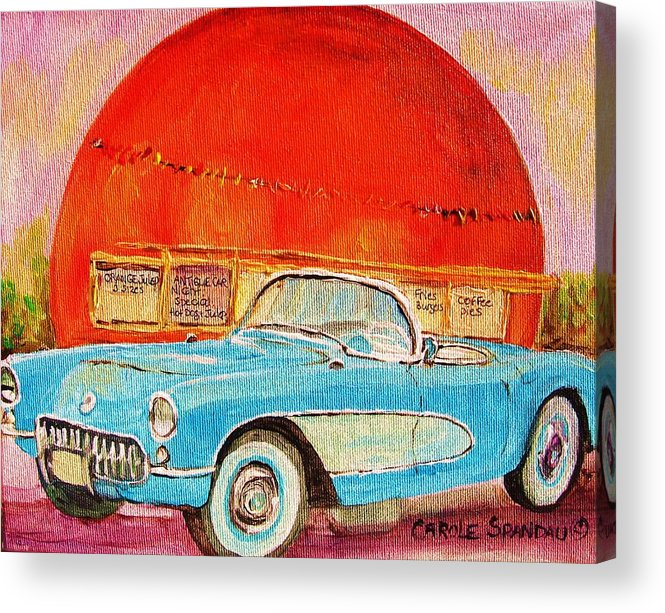 Montreal Acrylic Print featuring the painting My Blue Corvette at the Orange Julep by Carole Spandau