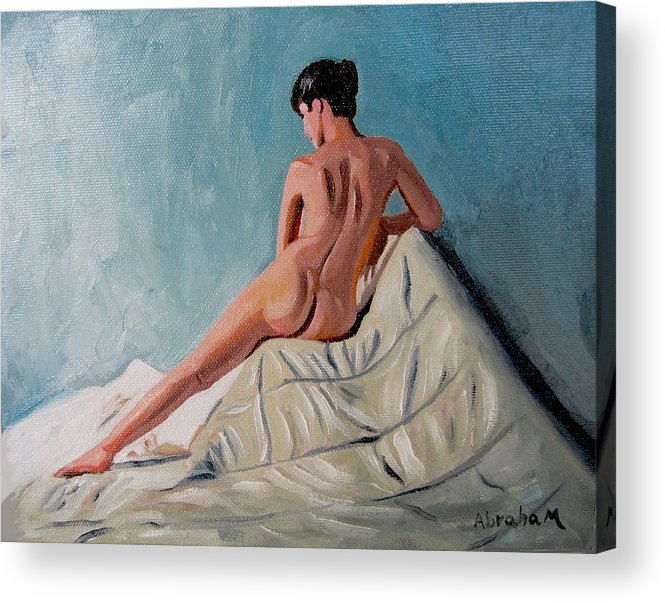 People Acrylic Print featuring the painting My X by Jose Manuel Abraham