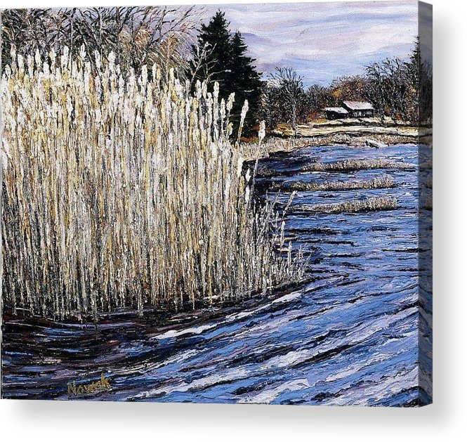 New England Acrylic Print featuring the painting New England Pond by Richard Nowak